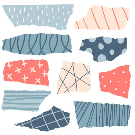 Pieces of torn colorful papers with doodles. Flat vector illustration. Set of collage elements. Hand drawn abstract shapes
