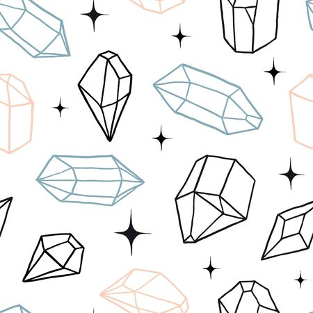 Seamless pattern with diamonds, crystals and sparkles. Vector magic texture. Abstract background with geometric shapes. Hand drawn, doodle, sketch illustration for fabric, textile, paper.
