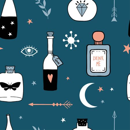 Vector witch seamless pattern with magic cartoon bottles and love potions. Vector illustration. Magic elixir hand drawn texture witchcraft symbols: potion, arrow, crystal, eyes