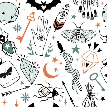 Vector witch magic seamless pattern. Hand drawn, doodle, sketch magician texture. Witchcraft symbols. Perfect for textile, fabric, paper, Halloween decoration Ilustração
