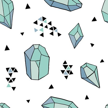 Seamless pattern with colorful diamonds, jems, stones and triangles on white background. Trendy hipster design with minerals and crystals. Abstract pattern with geometric shapes Çizim