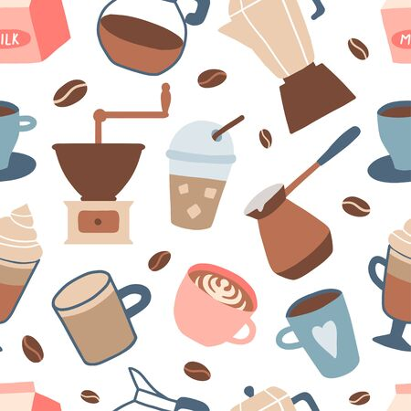 Seamless pattern with different coffee types: americano, cappuccino, espresso, frappe, mocha. Hot cup of drink for breakfast, kettle, mug, milk. Vector texture in cartoon style for textile, fabric