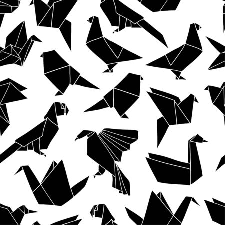 Seamless pattern with colorful origami birds. Vector background with geometric birds: crane, pigeon, parrot, swan. Hand drawn design for paper, textile print, page fill