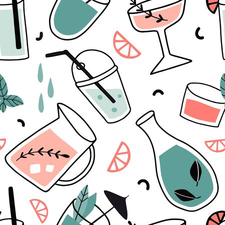 Fresh cocktails seamless pattern. Background with alcohol drinks. Summer holiday and beach party concept. Hand drawn cute vector illustration. Texture for party wrapping papet, texture, fabric.