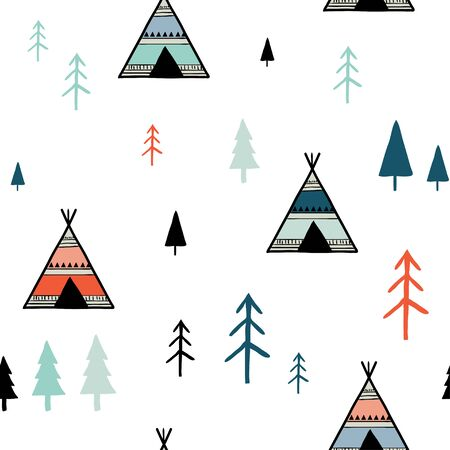 Scandinavian colorful geometric seamless pattern. Simple minimalist trees and tents. Cartoon hand drawn Vector illustration. Abstract background for textile, covers, package, wrapping paper Illustration