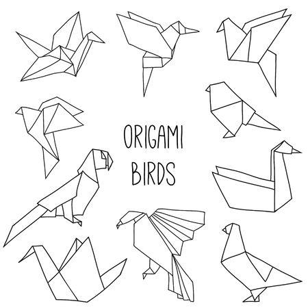 Śliczna kolekcja z 10 ptakami origami w zarysie. Wektor zestaw linii geometrycznych ptaków: żuraw, gołąb, papuga, łabędź, colibri. Ilustracje wektorowe