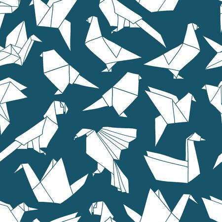Seamless pattern with colorful origami birds. Vector background with geometric birds: crane, pigeon, parrot, swan. Hand drawn design for paper, textile print, page fill Ilustracje wektorowe