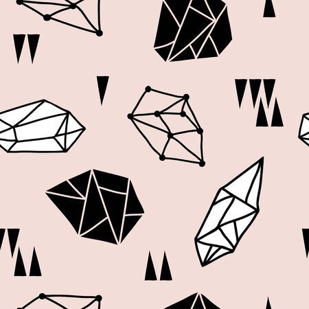 Seamless pattern with diamonds, jems, stones and abstract shapes on pink background. Trendy doodle hipster design with crystals and triangles. Abstract pattern with geometric shapes Çizim