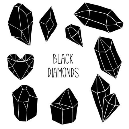 Black diamonds, jems, stones on white background. Trendy hipster design with minerals and crystals. Abstract geometric shapes