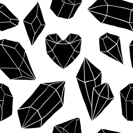 Seamless pattern with black diamonds, jems, stones on white background. Trendy hipster design with minerals and crystals. Abstract pattern with geometric shapes