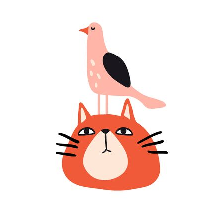 Funny cat and bird. Cute design for card, print, poster. Pet vector illustration. Cartoon doodle animals images. Cute kitten. Hand drawn character
