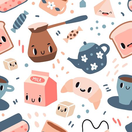 Good morning seamless pattern. Funny breakfast characters: toasts, bread, coffee, tea, milk, jam, croissant. Cute food and drink icons in kawaii style with smiling face. Vector texture