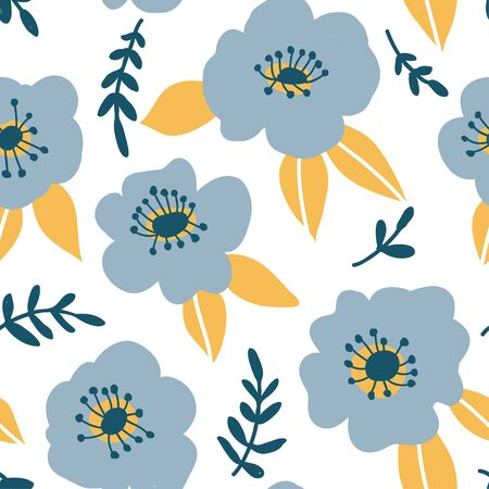 Seamless pattern with colorful hand drawn blue flowers. Modern and original textile, wrapping paper, wall art design. Vector illustration. Floral simple minimalistic graphic design