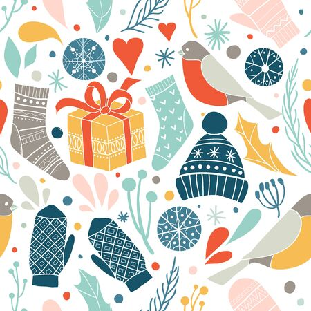 Winter vector seamless pattern with cute socks, hats, mittens, gift, birds, snowflakes. Merry xmas pattern. Winter Christmas icons, elements and illustrations