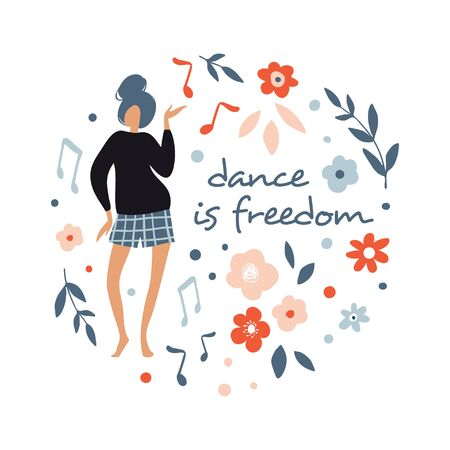 Funny dancing girl. Poster, card for party. Colorful happy people characters. Cute vector Illustration in flat cartoon style. Female dancer with flowers isolated on white Illusztráció