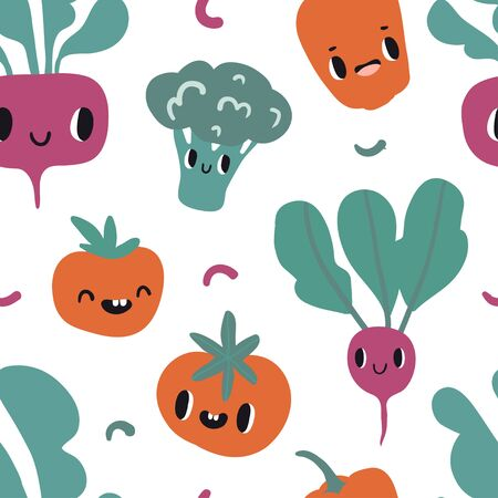 Seamless pattern with cartoon smile vegetable characters: beet, tomato, radish, pepper. Colorful design for kids or kitchen textile, fabric, paper. Cute doodle style emoticons