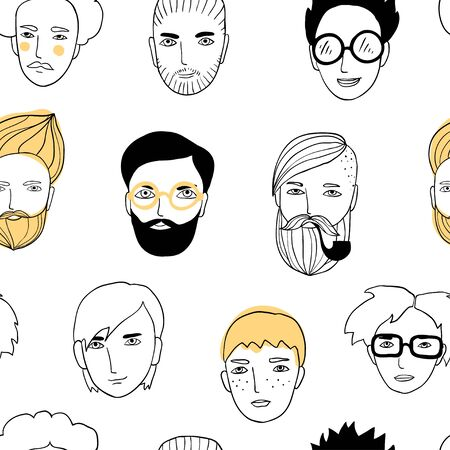 Seamless pattern with cute faces of people. Doodle portraits of guys. Trendy hand drawn background. Line art, sketch style cartoon vector illustration. Outline avatars textture for textile, paper