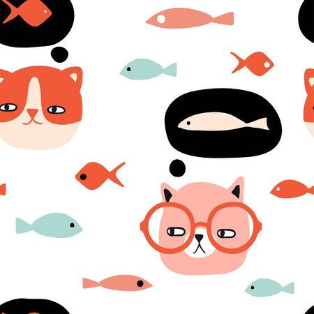 Funny cats and fish seamless pattern. Pet vector illustration. Cartoon doodle animals background. Cute kitten design for girls, kids. Hand drawn childrens pattern for fashion clothes, shirt, fabric