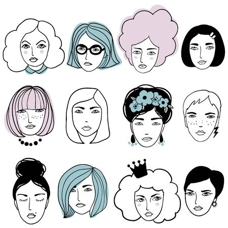 Cute faces of people. Doodle portraits of girls. Trendy hand drawn set. Line sketch style cartoon vector illustration. Çizim