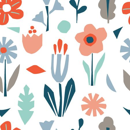 Cutout flowers and floral elements seamless pattern. Scandinavian geometric abstract plant silhouette. Minimalistic simple background Иллюстрация