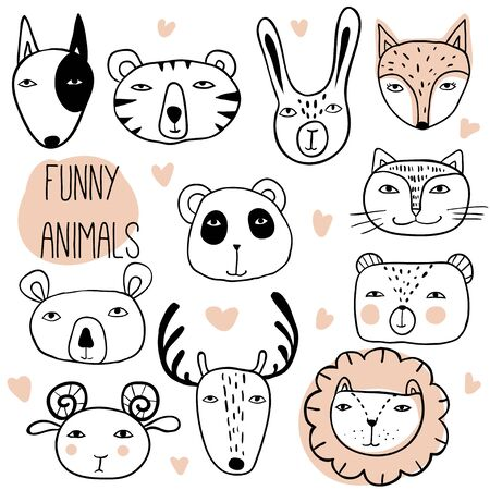 Funny hand drawn animals. Cute cartoon illustration. Animal Faces Set. Wildlife characters. Outline vector
