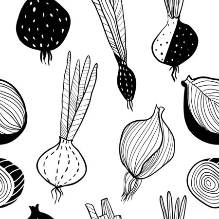 Sketch style onion seamless pattern. Hand drawn doodle vegetables