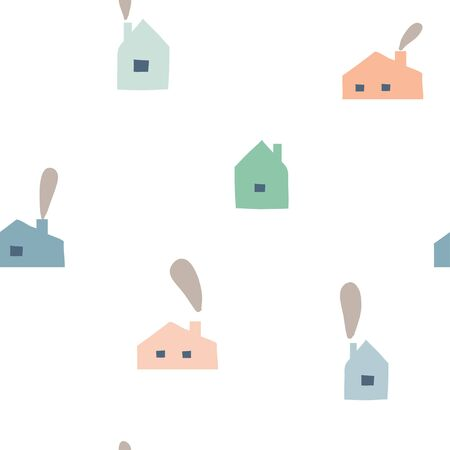 Scandinavian geometric seamless pattern with cute stylized city landscape. Hand drawn cartoon colorful houses. Simple cottages illustration. Map texture for childish textile, fabric, wrapping paper Illusztráció