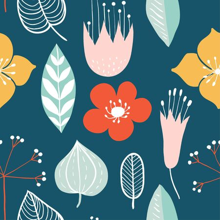 Seamless pattern with colorful hand drawn flowers. Modern and original textile, wrapping paper, wall art design. Vector illustration. Floral simple minimalistic graphic design Stock Vector - 130160049