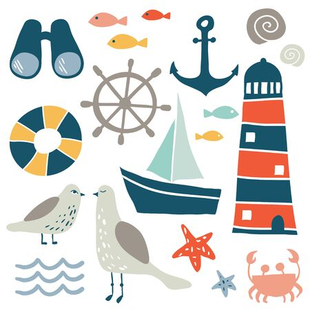 Set of nautical design elements. Cartoon nautical icons. Cute sea objects collection. Hand drawn vector illustration.