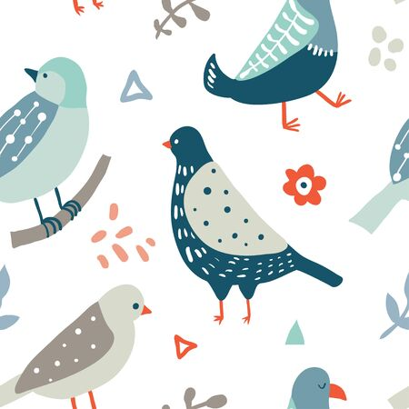 Colorful seamless pattern with birds, flowers and abstract doodle shapes. Collection of flat hand drawn birds. Cute background for textile print, wrapping paper, wall art design