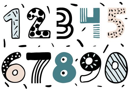Set of doodle numbers. Funny numbers for children studying. Collection of numerals for kids learning counting or mathematics. Illustration