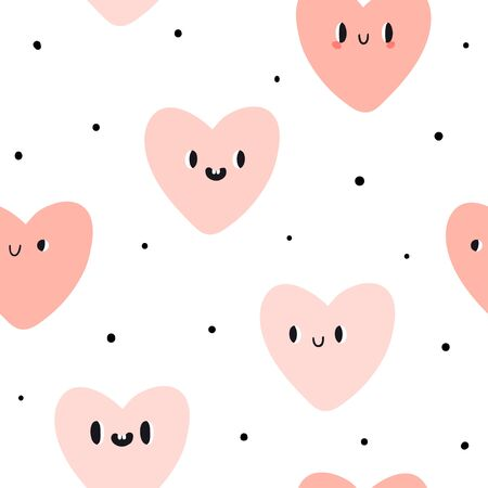 Cute emotion hearts seamless pattern. Flat style vector background lovely emoticons. Doodle kawaii face, sweet and childlike manga cartoon style. Vector love texture for valentine day or wedding