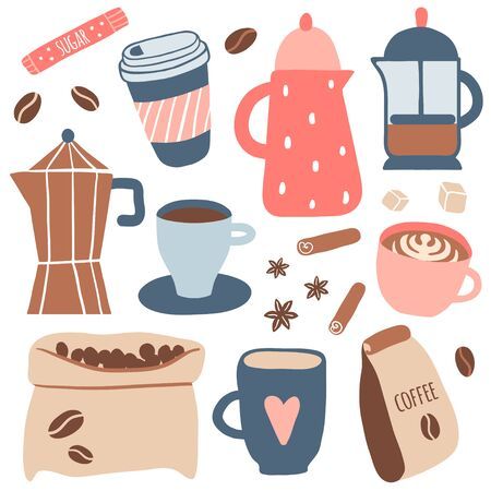Set of different coffee types: americano, cappuccino, espresso, raf, mocha. Hot cup of drink for breakfast, kettle, mug, beans. Vector illustration in cartoon style
