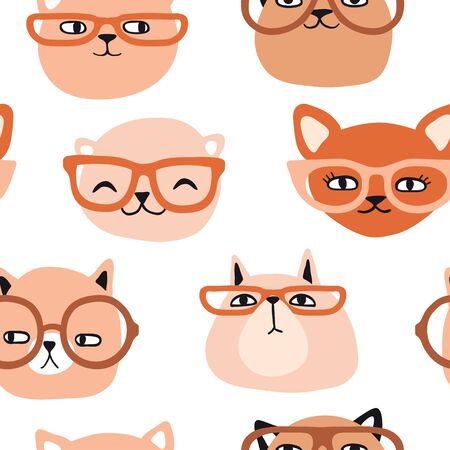 Funny cats with glasses seamless pattern. Pet vector illustration. Cartoon doodle animals background. Cute kitten design for girls, kids. Hand drawn childrens pattern for clothes, shirt, fabric