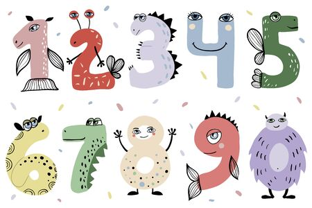 Set of cute cartoon number monsters. Flat style design. Funny monsters for children studying. Collection of numerals for kids learning counting or mathematics.