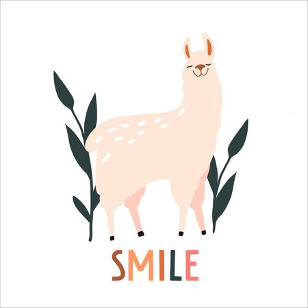 Smile. Cute hand drawn smiling lama and plants. Funny cartooon animal. South America, Peru. Flat llustration, poster, print for kids t-shirt, baby wear. Slogan, inspirational, motivation quote. Ilustrace