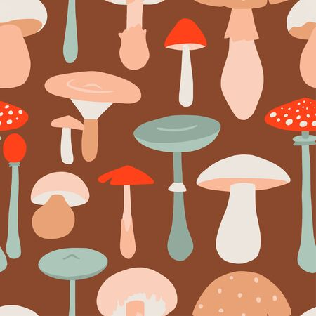Seamless pattern with forest mushrooms. Flat style, doodle texture for design, textile, packaging, paper. Hand drawn autumn illustration in vector.