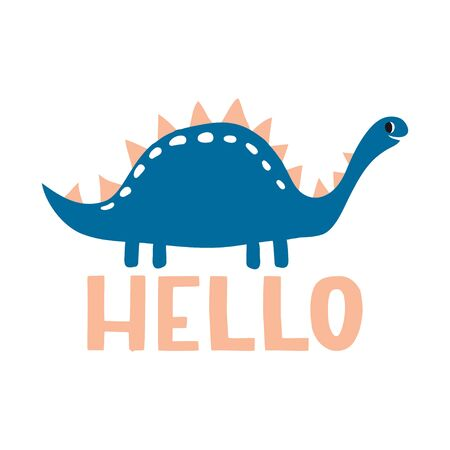 Hello. Lovely vector illustration with funny dinosaur and text. Hand drawn print, greeting card or poster for children room decoration. Flat cartoon dino character and lettering Çizim
