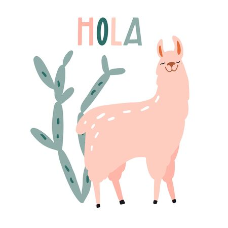 Hola. Cute hand drawn smiling lama and cactus. Funny cartooon animal. South America, Peru. Flat llustration, poster, print for kids t-shirt, baby wear. Slogan, inspirational, motivation quote. Ilustrace