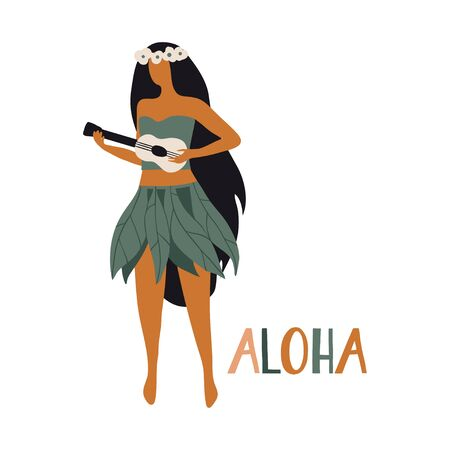 Hawaiian girl is dancing hula and playing ukulele. Aloha text. Cute card print or poster for Hawaiian holidays. Vector illustration. Funny character, flat cartoon style summer design with lettering