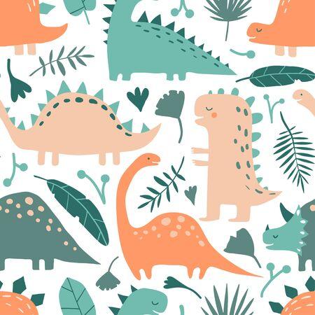 Handgezeichnete Dinosauriertiere und tropische Blätter. Nahtloses Muster des netten lustigen Karikaturdinos. Handgezeichnete Vektortextur für Kinderstoff, Textil, Kinderzimmertapete. Kindliche Vektorgrafik im Doodle Vektorgrafik