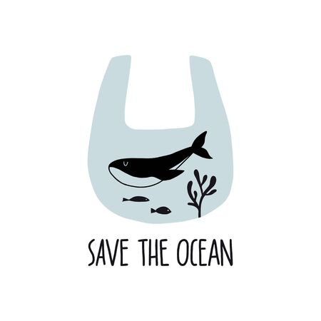 Save the ocean. Eco concept poster with hand drawn sea life elements. Environment protection. Zero waste, recycling, ecology. Ilustrace