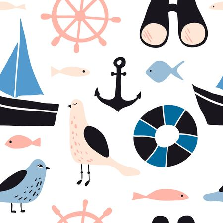 pattern with nautical design elements: anchor, boat, seagull, waves, wheel, fish. Cute cartoon sea objects. Hand drawn vector illustration. Marine symbols on white