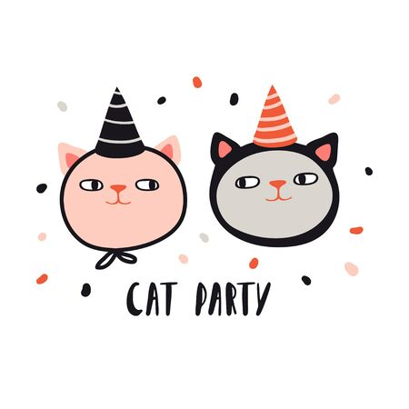 Cat party. Funny cats in .holiday hats. Design for card, print, poster. Pet vector illustration. Cartoon doodle animals images. Cute kitten with lettering. Hand drawn character