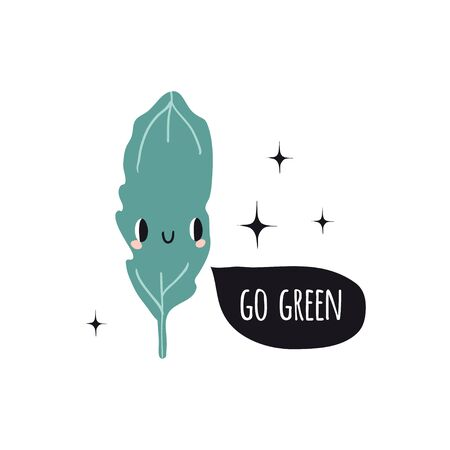Go green. Print with lettuce and text. Cute cartoon smile vegetable characters. Colorful design for cards, banners, printed materials. Doodle style emoticons.