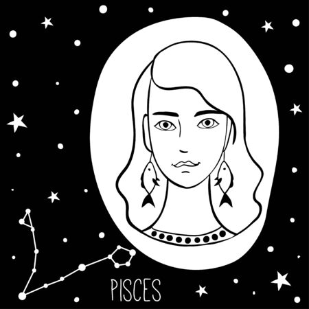 Pisces. Woman with zodiac sign. Stars, astrological, constellation, beauty, female. Hand drawn vector illustration of the girl. Sketch style, black and white