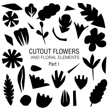 Cutout flowers and floral elements set. Black on white. Scandinavian geometric abstract plant silhouettes. Minimalistic simple collection Standard-Bild - 133352805