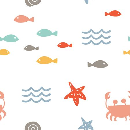 Sea vector seamless pattern with hand drawn stars, fish, crab, waves on white. Nautical background. Cartoon illustration. Hand drawn abstract background for textile, covers, package, wrapping paper Illusztráció