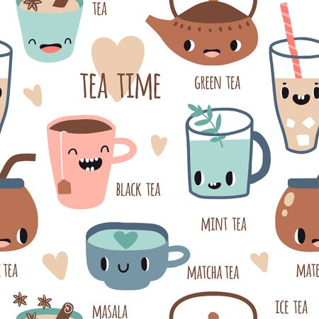 Seamless pattern with different kinds of tea with smile faces. Vector illustration flat style. Green, black tea, matcha, masala, mint, chamomile, ice tea. Funny characters cute hand drawn texture Illustration
