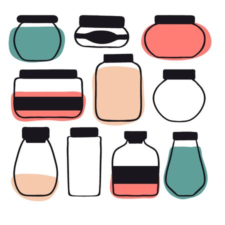 Set of colorful doodle preserved food. Hand drawn collection with cute different shape jars and bottles with abstract jam, honey, sauce. Vector flat style cartoon illustration. Isolated icons  イラスト・ベクター素材